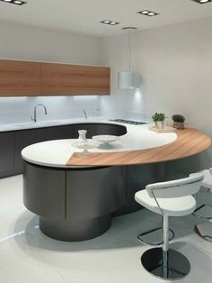 Modern oval kitchen models Distinguished guests, stop searching if you are not satisfied with your kitchen and are in the process of renovating it. Kitchen Room Design, Modern Kitchen Design, Home Decor Kitchen, Kitchen Furniture, New Kitchen, Kitchen Interior, Home Kitchens, Furniture Stores, Cheap Furniture