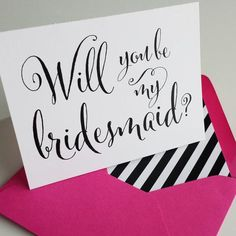 Bridal Party Cards // Rustic Chic // Hot Pink & Black Stripes