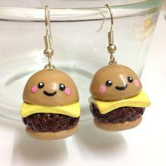 Items similar to Cute Kawaii Handmade Polymer clay Cheeseburger fast food earrings on Etsy