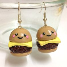 Items similar to Cute Kawaii Handmade Polymer clay Cheeseburger fast food earrings on Etsy
