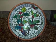 Christmas mosaic on terra cotta saucer