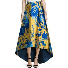 Sachin & Babi Noir Floral Jacquard High-Low Skirt ($690) ❤ liked on Polyvore featuring skirts, citrine, hi lo maxi skirt, high low maxi skirt, blue floral skirt, floral print maxi skirt and floral skirt