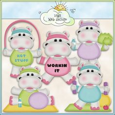 Let's Get Physical Hippos 1 - Exclusive Clip Art Love it, so cute