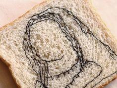 Bordando puntadas en pan.  Obra: Mona Lisa de #fernandobotero  #embroidery #embroideryart #bread #pan #bordado #bordadoamano Mona Lisa, Ethical Fashion, Fernando Botero, Hand Embroidery, Dots, Sustainable Fashion