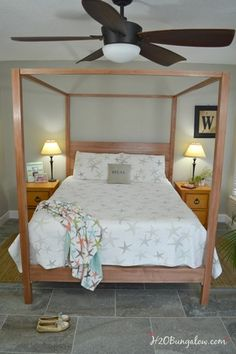 DIY Queen Bed Plans. Follow the link for download.