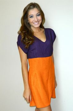 Darby Dress (Orange/Purple) | Girly Girl Boutique