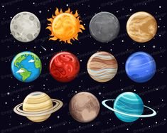 Cat Clipart, Vector Clipart, Solar System Clipart, Moon Globe, Uranus, Moon Cartoon, Kawaii Cat, Kawaii Chibi, Cute Sun