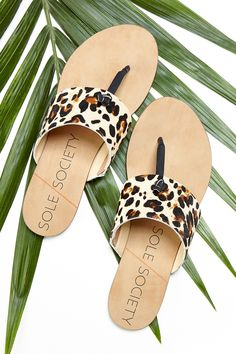 leather & haircalf leopard print thong sandal a hand-knotted detail at T-strap