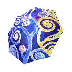 Blue Gold Modern Abstract Tree Nature Foldable Umbrella.