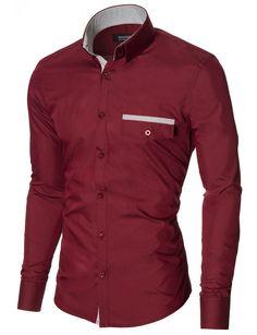 MODERNO Slim Fit Freizeit Herrenhemd (MOD1413LS) Bordeaux Herren Sakko,  Deutschland, Lässige Button 3efd83f59c