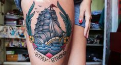 Stay strong traditional ship tattoo