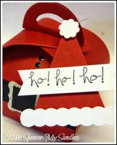 Stampin Up Curvy Keepsake Die Santa box with Santa hat By Nicki