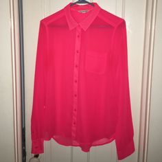 Hot pink sheer button down blouse Hot pink, sheer, button down blouse from American Eagle, never worn American Eagle Outfitters Tops Blouses