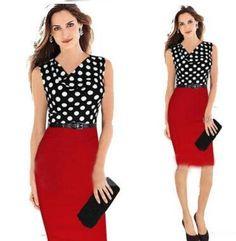 Elegant Women Work Dresses Summer Plus Size Patchwork Polka Dot Bodycon Slim Casual Knitting Dress Sleeveless Office Formal Dresses Lgc07 Grey Summer Dresses Black Clothing For Women From Xinying2016, $13.8| Dhgate.Com