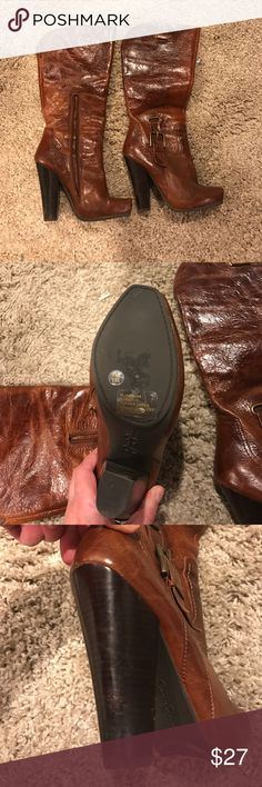 Jessica Simpson boot Brown distressed Jessica Simpson boot worn twice small scuff on heel Jessica Simpson Shoes Heeled Boots