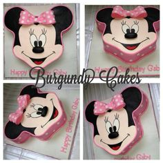 "Minnie Mouse cake:   I started with 1-12"" cake and 2-6"" cakes. I baked, filled and placed the 12 inch on my board. I had my husband draw out a Minnie Mouse head on a paper for me. I trimmed the cake to get the shape of the head before attaching the ears. I then attached the 2-6"" cakes as the ears. I frosted the cake as a whole with buttercream, placed in the freezer for about 30 mins to harden up. Next, I rolled  . . ."