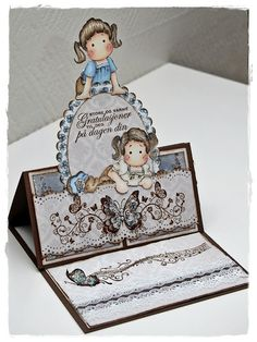 Pretty easel card using Magnolia stamps