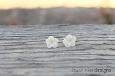 White Plumeria Cabochon Earrings by LauraSilvaDesigns on Etsy, $5.00