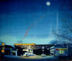 Karl Newman: 'Gimmee Shellter' oil on canvas 138 x 118cms