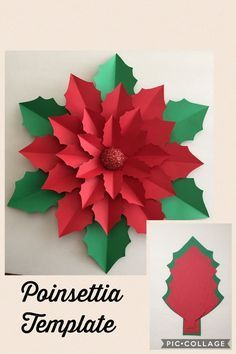Best 12 Giant paper poinsettia flower template and tutorial by Abbi Kirsten Collections. Christmas Crafts For Kids, Christmas Art, Christmas Projects, Holiday Crafts, Christmas Holidays, Christmas Ornaments, Paper Christmas Decorations, Christmas Backdrop Diy, Halloween Crafts