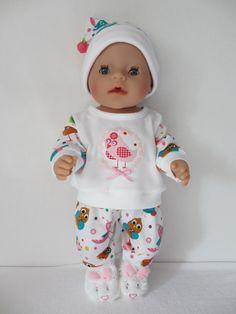 Voor Baby Born Girl Een lieve pyjama met een slaapmutsje