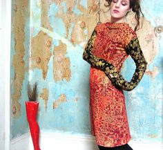 Handmade hand printed red jersey dress with metallic gold and black geometric op art graphic pattern and metallic swirly sleeves