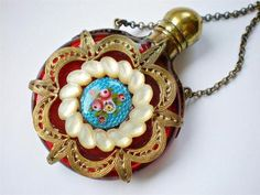 Antique Ruby Glass Chatelaine Scent Perfume Bottle Gilt Brass Enamel MOP Cage | eBay
