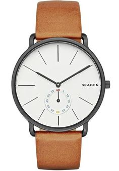 Skagen Hagen Sub-Seconds Tan Leather Watch Black/White SKW6216