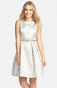Eliza J Polka Dot Jacquard Fit & Flare Dress