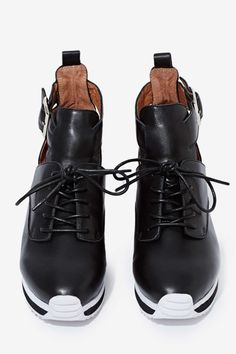 wedge leather trainers