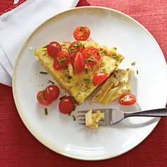 "Breakfast Tortilla made with potato crust from ""12 Healthy Breakfast Recipes under 250 cal."""