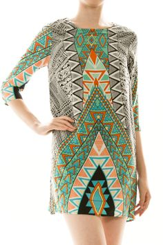 Simple Shift Dress in Tribal Print