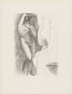Pablo Picasso. Nude Woman Before a Statue (Femme nue devant une statue) from the Vollard Suite (Suite Vollard). July 4, 1931, published 1939...