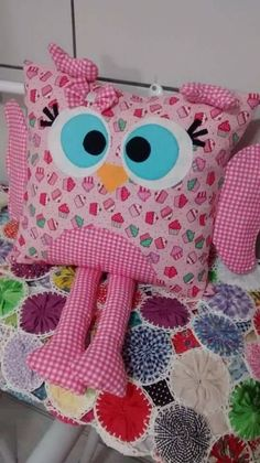 Sewing Pillows, Diy Pillows, Decorative Pillows, Sewing Toys, Baby Sewing, Sewing Crafts, Sewing Projects For Kids, Sewing For Kids, Owl Pillow