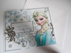 Stunning handmade Elsa from Frozen Birthday card perfect for any Princess