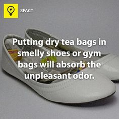 PUTTING DRY TEA BAGS IN SMELLY SHOES | ... before? Put dry tea bags into your shoes to remove odors? Success