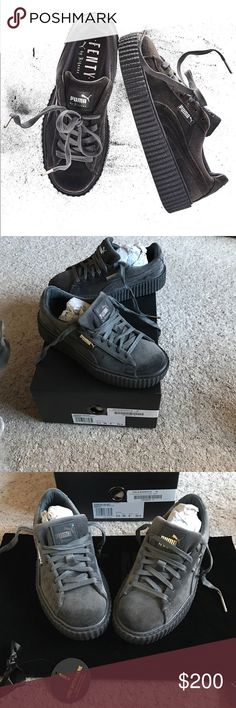 Puma x Fenty Creepers Grey Velvet ✨ Puma x Fenty Creepers Grey Velvet ✨ BRAND NEW ✨ NEVER WORN ✨ Size EU 36: US 6 ✨ Comes with Box + Dust Bag ✨ They don't fit me correctly so I have to sell   Yes, it's authentic  PRICE IS FIRM Puma Shoes Sneakers
