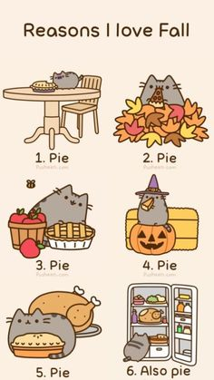 Reasons I love fall http://pusheen.com/post/32481225787