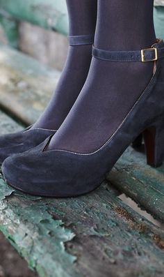 slate grey suede shoes with pewter leather edging......gotta have!