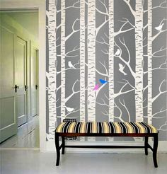 Wall Stencil Bird on the tree Allower Pattern Wall Room Decor Made by OMG Stencils Home Improvements Color Paintings 0003. $58.00, via Etsy.