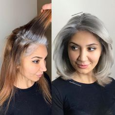 10 Times Jack Martin Helped His Clients Go Gray Plus How to Make it Last - Hair . - - 10 Times Jack Martin Helped His Clients Go Gray Plus How to Make it Last - Hair Color - Modern Salon Low. Gray Hair Growing Out, Grow Hair, Grey Hair Home Remedies, Curly Hair Styles, Natural Hair Styles, Curly Gray Hair, Long Grey Hair, Lilac Hair, Pastel Hair