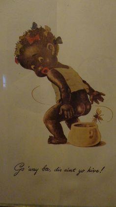 Vintage Black Americana Art Little Girl With Bee