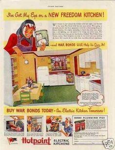 Stainless Steel Appliances With Oak - Slate Appliances White Cabinets - - Red Kitchen Appliances, Slate Appliances, Vintage Advertisements, Vintage Ads, 1940s Home Decor, Viking Kitchen, Discount Appliances, Retro Housewife, Vintage Kitchen