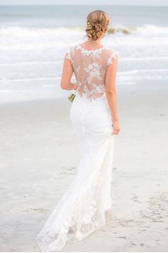 Beach Bride: Beautiful real bride wearing the Claire Pettibone 'Adagio' wedding dress, Still Life CollectionPhoto: Hunter McRae Photography http://www.clairepettibone.com/adagio