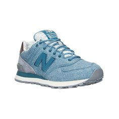 New Balance Women's 574 Heathered Casual Shoes ($80) ❤ liked on Polyvore featuring shoes, blue, new balance footwear, lock shoes, blue shoes, vintage footwear and mesh shoes