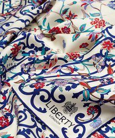 Liberty London Liberty London Cream Garden Gates Silk Twill Scarf