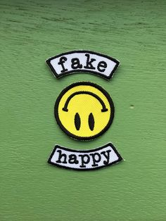 FAKE HAPPY iron on patch / feminist embroidery / smash the patriarchy / paramore