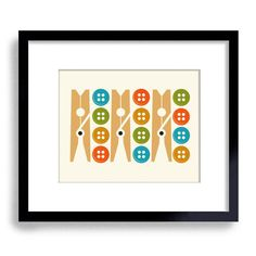 Laundry Room Colorful Decor Mid Century Modern Buttons Clothespin Washing Machine Wash Dry Fold Beach House This fun and colorful art print will cheer up your laundry room. • THIS IS FOR THE PRINT ONLY. 8x10 Does not include the frame or mat. • Printed on heavy cream color 110 lb. text