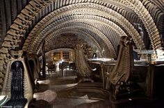 Spooky: The H.R. Giger Alien Bar in Chur, Switzerland, is not for the fainthearted as the chairs, ceiling, and bar are made to look like an awesome anatomy project