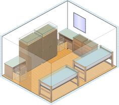 Dorm Room Layout:  You'll need to know your room furnishings (call Residence Life office), get the dimensions of your room and discuss what kind of room atmosphere and your roommate(s) want in advance.